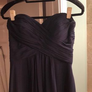 Navy blue strapless long dress